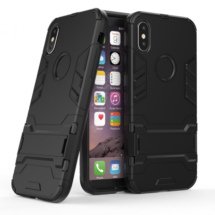 COOVY® Cover für Apple iPhone X / Xs Bumper Case, Doppelschicht aus Plastik + TPU-Silikon, extra stark, Anti-Shock, Standfunktion