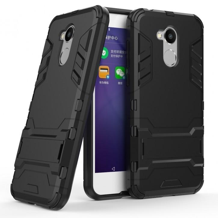 COOVY® Cover für Huawei Honor 6a Bumper Case, Doppelschicht aus Plastik + TPU-Silikon, extra stark, Anti-Shock Hülle, Standfunktion |