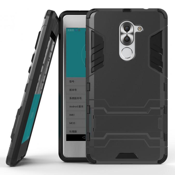 COOVY® Cover für Huawei Honor 6x / Mate 9 lite / GR5 2017 Bumper Case, Doppelschicht aus Plastik + TPU-Silikon, extra stark, Anti-Shock, Standfunktion