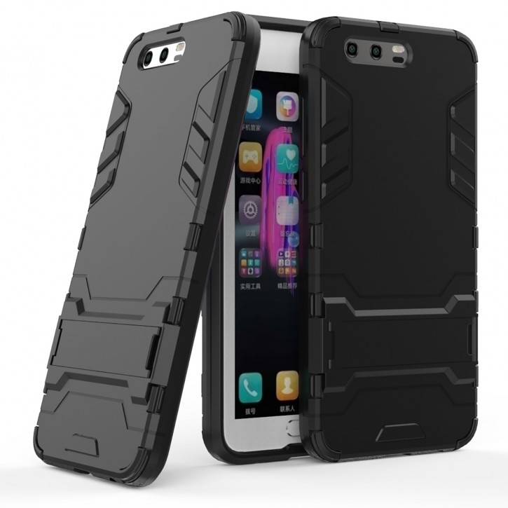 COOVY® Cover für Huawei Honor 9 Bumper Case, Doppelschicht aus Plastik + TPU-Silikon, extra stark, Anti-Shock, Standfunktion