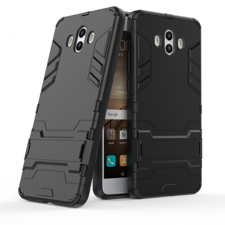COOVY® Cover für Huawei Mate 10 Bumper Case, Doppelschicht aus Plastik + TPU-Silikon, extra stark, Anti-Shock, Standfunktion