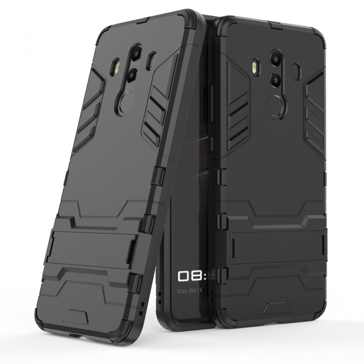 COOVY® Cover für Huawei Mate 10 pro Bumper Case, Doppelschicht aus Plastik + TPU-Silikon, extra stark, Anti-Shock, Standfunktion