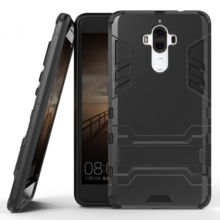 COOVY® Cover für Huawei Mate 9 Bumper Case, Doppelschicht aus Plastik + TPU-Silikon, extra stark, Anti-Shock, Standfunktion