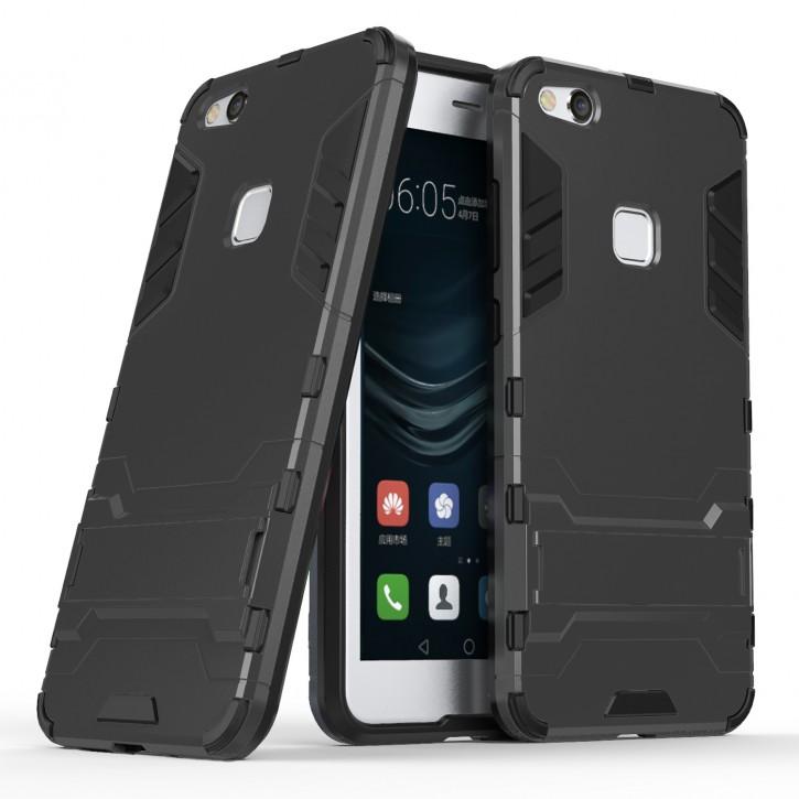 COOVY® Cover für Huawei P10 lite / NOVA lite Bumper Case, Doppelschicht aus Plastik + TPU-Silikon, extra stark, Anti-Shock, Standfunktion