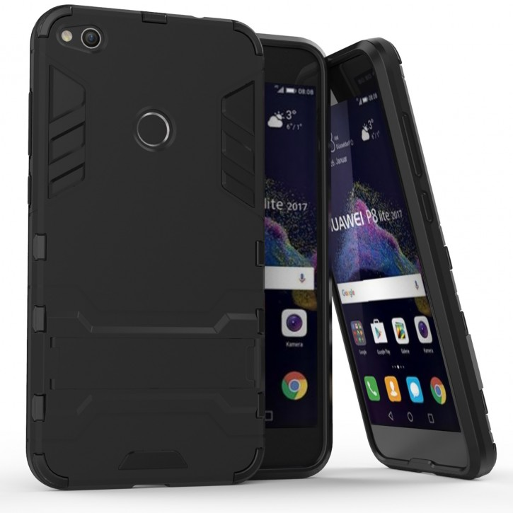 COOVY® Cover für Huawei P8 lite / P9 lite / Honor 8 lite (Model 2017) Bumper Case, Doppelschicht aus Plastik + TPU-Silikon, extra stark, Anti-Shock, Standfunktion