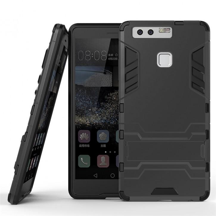 COOVY® Cover für Huawei P9 Bumper Case, Doppelschicht aus Plastik + TPU-Silikon, extra stark, Anti-Shock, Standfunktion