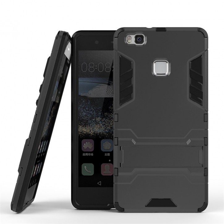 COOVY® Cover für Huawei P9 lite / G9 lite Bumper Case, Doppelschicht aus Plastik + TPU-Silikon, extra stark, Anti-Shock, Standfunktion