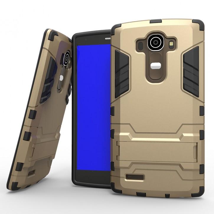 COOVY® Cover für LG G4 H815 (5,5 ZOLL) Bumper Case, Doppelschicht aus Plastik + TPU-Silikon, extra stark, Anti-Shock Hülle, Standfunktion |