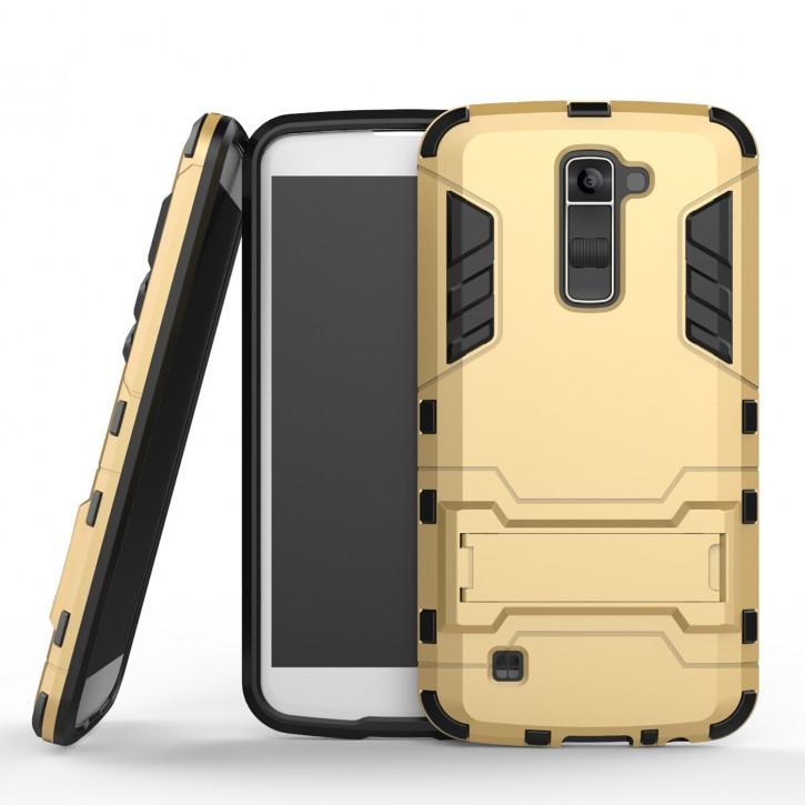 COOVY® Cover für LG K10 (Model 2016) Bumper Case, Doppelschicht aus Plastik + TPU-Silikon, extra stark, Anti-Shock, Standfunktion
