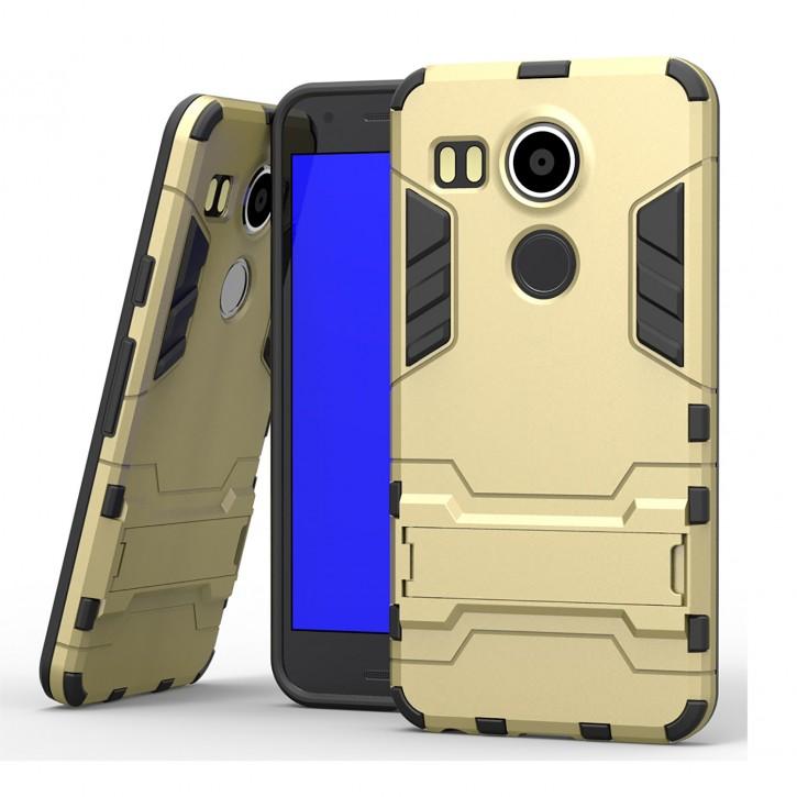 COOVY® Cover für LG Nexus 5X Bumper Case, Doppelschicht aus Plastik + TPU-Silikon, extra stark, Anti-Shock, Standfunktion
