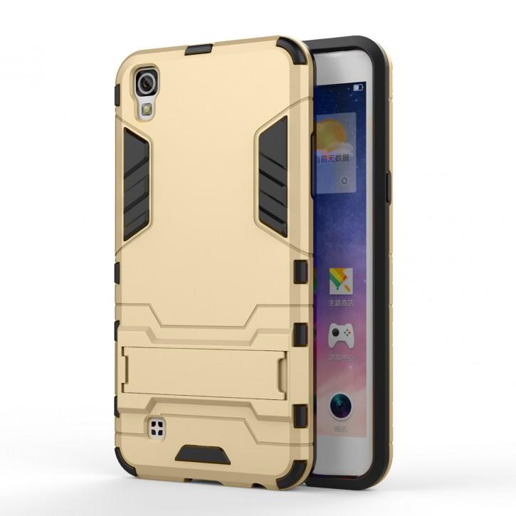COOVY® Cover für LG X-power Bumper Case, Doppelschicht aus Plastik + TPU-Silikon, extra stark, Anti-Shock, Standfunktion