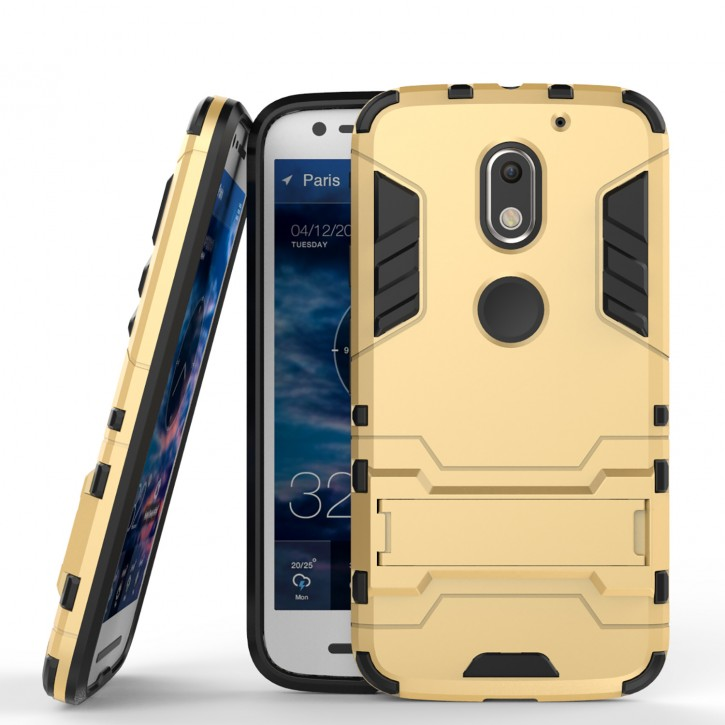 COOVY® Cover für Motorola Moto E3 Bumper Case, Doppelschicht aus Plastik + TPU-Silikon, extra stark, Anti-Shock, Standfunktion