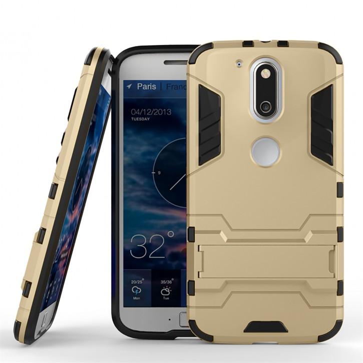 COOVY® Cover für Motorola Moto G4 + plus Deluxe Hybrid Bumper Schutzhülle mit Doppelschicht aus Plastik + TPU-Silikon, extra starkes Case mit Anti-Shock Schutzfunktion, Hülle mit Standfunktion