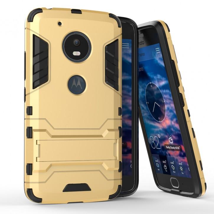 COOVY® Cover für Motorola Moto G5 Bumper Case, Doppelschicht aus Plastik + TPU-Silikon, extra stark, Anti-Shock, Standfunktion