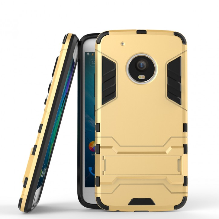COOVY® Cover für Motorola Moto G5 + plus Bumper Case, Doppelschicht aus Plastik + TPU-Silikon, extra stark, Anti-Shock, Standfunktion