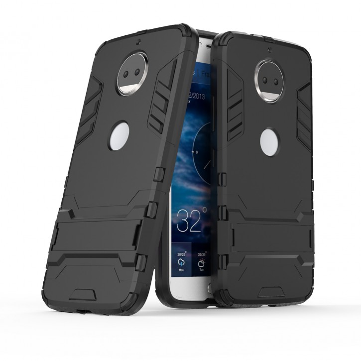 COOVY® Cover für Motorola Moto G5s + plus Bumper Case, Doppelschicht aus Plastik + TPU-Silikon, extra stark, Anti-Shock, Standfunktion