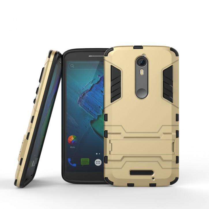 COOVY® Cover für Motorola Moto X Force Bumper Case, Doppelschicht aus Plastik + TPU-Silikon, extra stark, Anti-Shock, Standfunktion