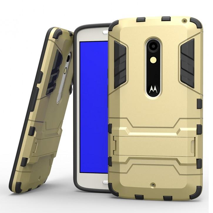 COOVY® Cover für Motorola Moto X play Bumper Case, Doppelschicht aus Plastik + TPU-Silikon, extra stark, Anti-Shock Hülle, Standfunktion  