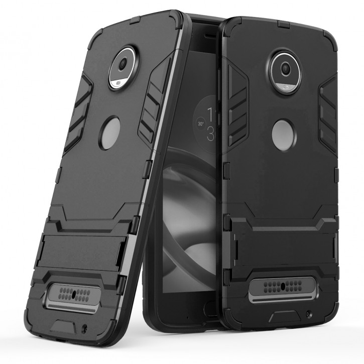 COOVY® Cover für Motorola Moto Z2 play Bumper Case, Doppelschicht aus Plastik + TPU-Silikon, extra stark, Anti-Shock, Standfunktion