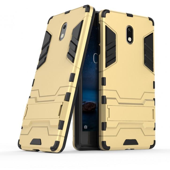 COOVY® Cover für Nokia 3 Bumper Case, Doppelschicht aus Plastik + TPU-Silikon, extra stark, Anti-Shock, Standfunktion