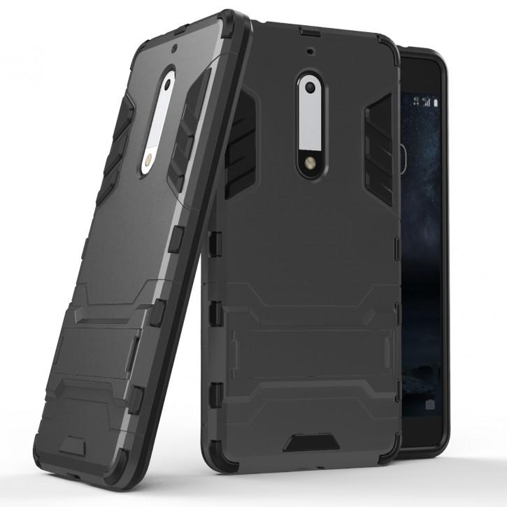 COOVY® Cover für Nokia 5 Bumper Case, Doppelschicht aus Plastik + TPU-Silikon, extra stark, Anti-Shock, Standfunktion