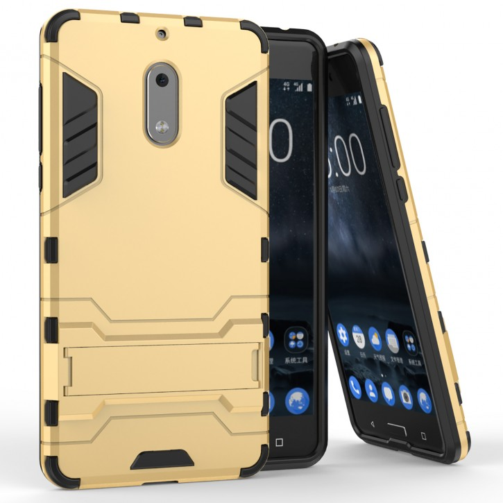 COOVY® Cover für Nokia 6 Bumper Case, Doppelschicht aus Plastik + TPU-Silikon, extra stark, Anti-Shock, Standfunktion