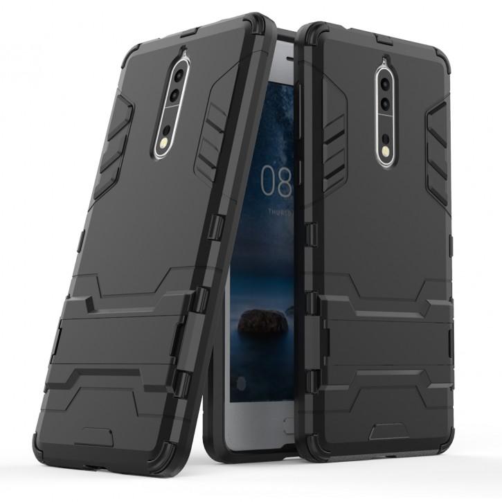 COOVY® Cover für Nokia 8 Bumper Case, Doppelschicht aus Plastik + TPU-Silikon, extra stark, Anti-Shock, Standfunktion