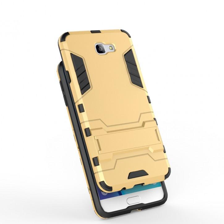 COOVY® Cover für Samsung Galaxy J7 prime SM-G610Y /Duos SM-G610F / DS / On7 Bumper Case, Doppelschicht aus Plastik + TPU-Silikon, extra stark, Anti-Shock, Standfunktion