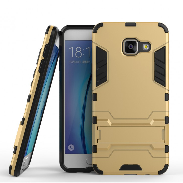 COOVY® Cover für Samsung Galaxy A3 SM-A310 / SM-A310F (Model 2016) Bumper Case, Doppelschicht aus Plastik + TPU-Silikon, extra stark, Anti-Shock, Standfunktion