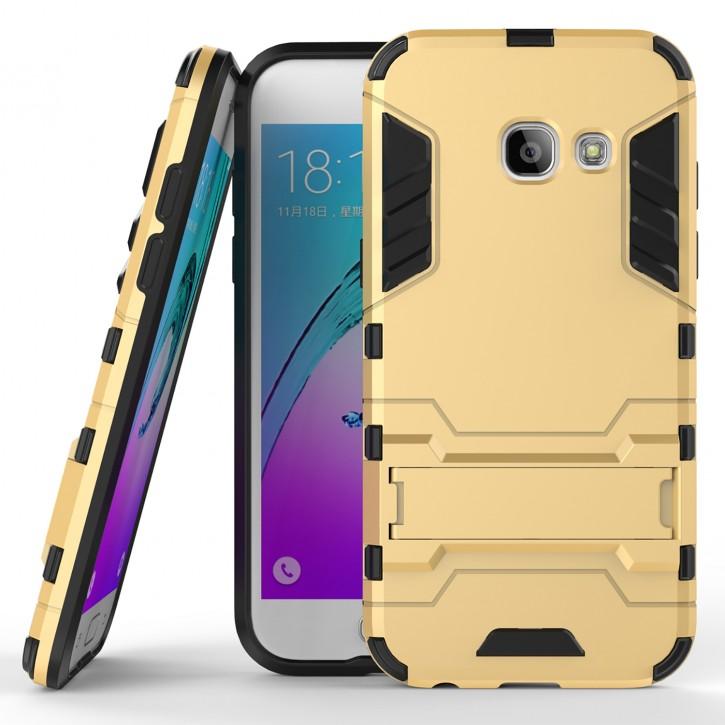 COOVY® Cover für Samsung Galaxy A3 SM-A320 / SM-A320F (Model 2017) Bumper Case, Doppelschicht aus Plastik + TPU-Silikon, extra stark, Anti-Shock, Standfunktion