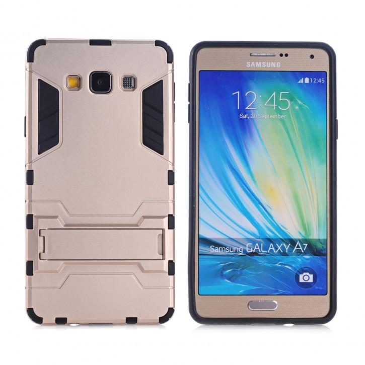 COOVY® Cover für Samsung Galaxy A7 SM-A700 / SM-A700F (Model 2015) Bumper Case, Doppelschicht aus Plastik + TPU-Silikon, extra stark, Anti-Shock, Standfunktion