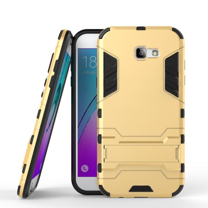 COOVY® Cover für Samsung Galaxy A7 SM-A720 / SM-A720F (Model 2017) Bumper Case, Doppelschicht aus Plastik + TPU-Silikon, extra stark, Anti-Shock, Standfunktion