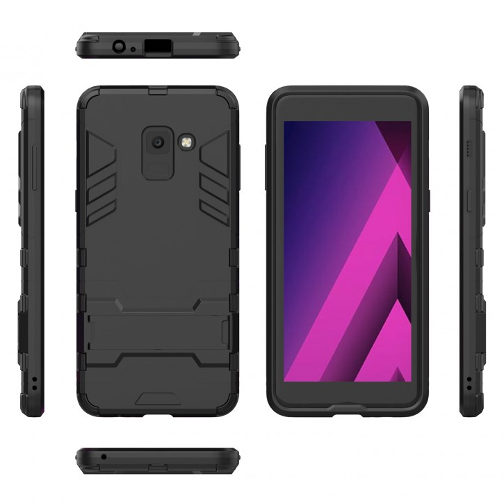COOVY® Cover für Samsung Galaxy A8 SM-A530 / SM-A530N / SM-A530F/DS (Model 2018) Bumper Case, Doppelschicht aus Plastik + TPU-Silikon, extra stark, Anti-Shock Hülle, Standfunktion |
