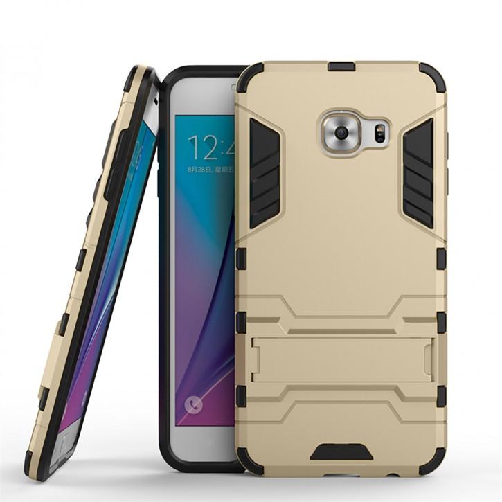 COOVY® Cover für Samsung Galaxy C5 C5000 Bumper Case, Doppelschicht aus Plastik + TPU-Silikon, extra stark, Anti-Shock, Standfunktion