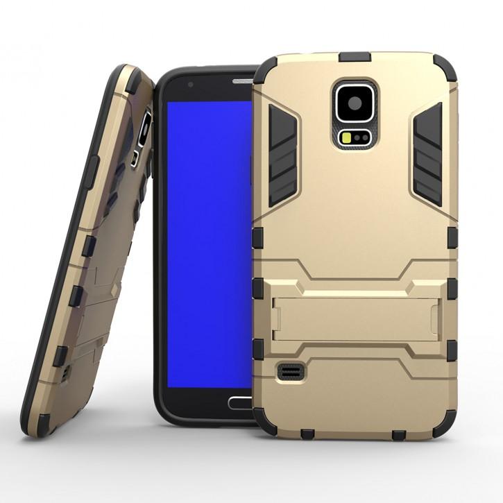 COOVY® Cover für Samsung Galaxy S5 SM-G900F SM-G901F Neo SM-G903F Bumper Case, Doppelschicht aus Plastik + TPU-Silikon, extra stark, Anti-Shock, Standfunktion