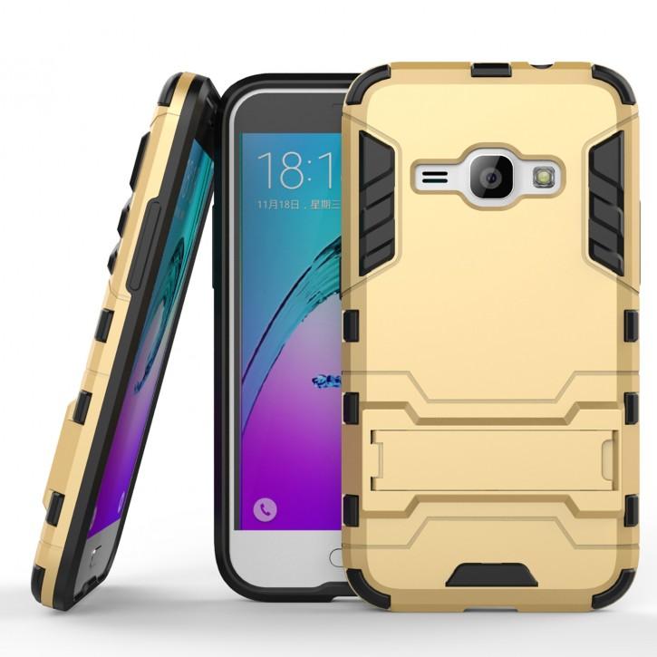 COOVY® Cover für Samsung Galaxy J1 SM-J120 / SM-J120F / SM-J120F/DS (Model 2016) Bumper Case, Doppelschicht aus Plastik + TPU-Silikon, extra stark, Anti-Shock Hülle, Standfunktion |