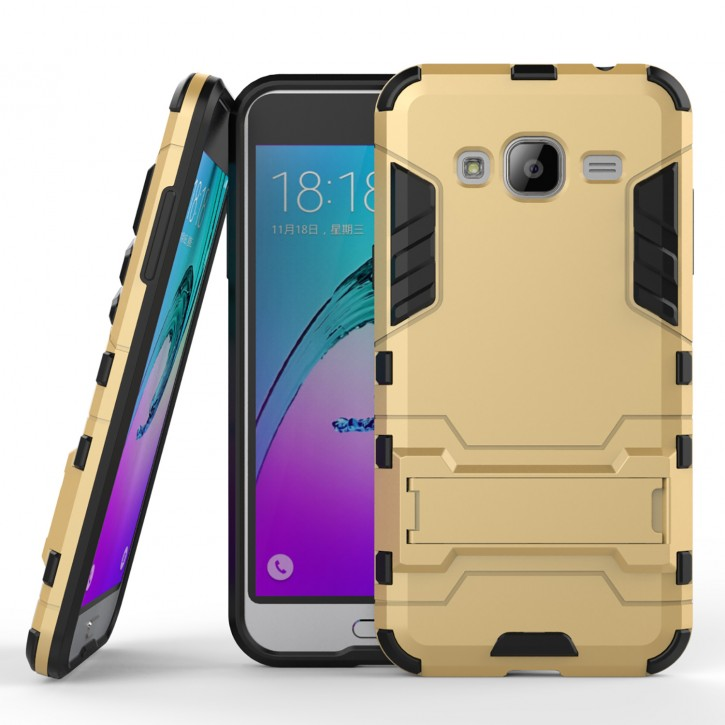 COOVY® Cover für Samsung Galaxy J3 SM-J310 SM-J320 (Model 2015 / 2016) Bumper Case, Doppelschicht aus Plastik + TPU-Silikon, extra stark, Anti-Shock Hülle, Standfunktion |