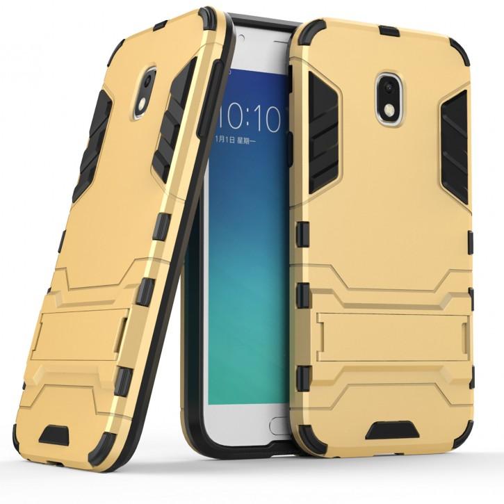 COOVY® Cover für Samsung Galaxy J3 SM-J330G / SM-J330F/DS (Model 2017) / J3 pro Bumper Case, Doppelschicht aus Plastik + TPU-Silikon, extra stark, Anti-Shock Hülle, Standfunktion |