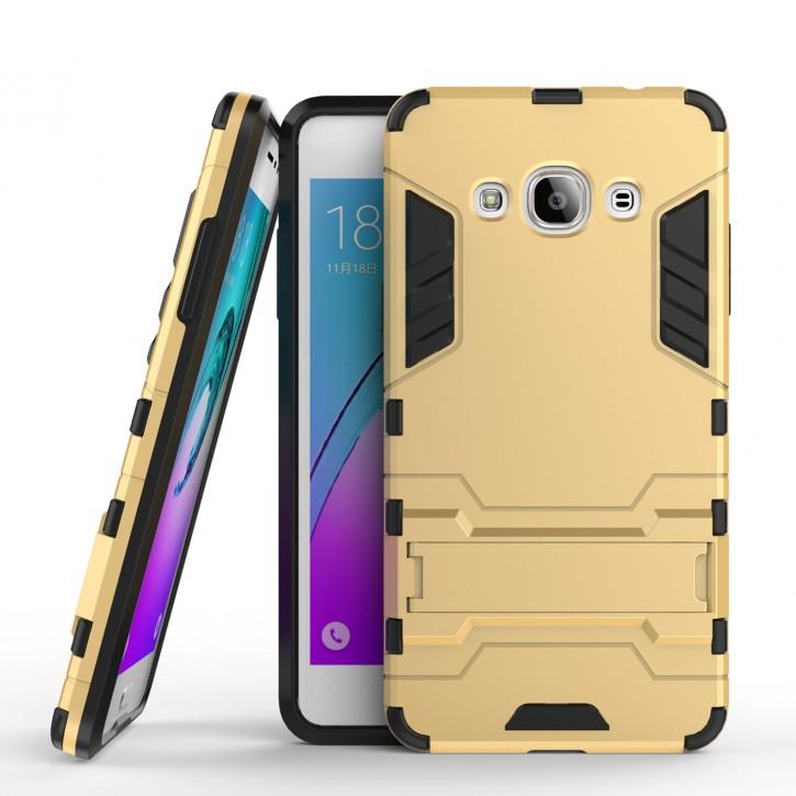 COOVY® Cover für Samsung Galaxy J3 pro SM-J3110 / SM-J3119 (Model 2016) Bumper Case, Doppelschicht aus Plastik + TPU-Silikon, extra stark, Anti-Shock, Standfunktion