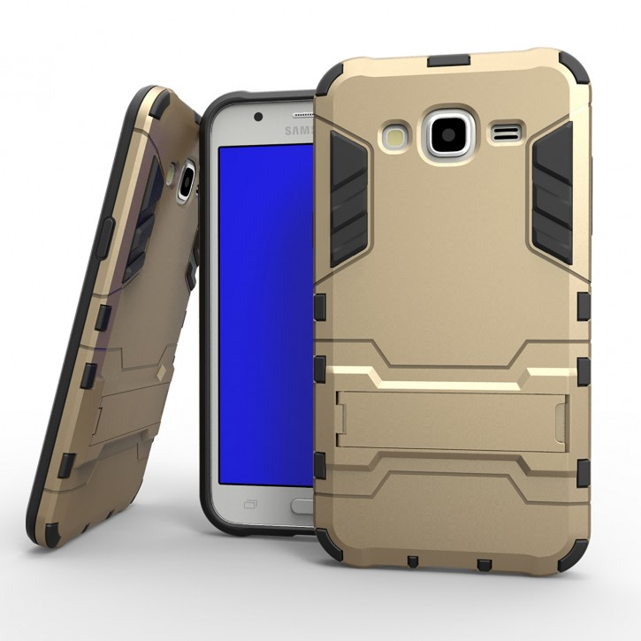 COOVY® Cover für Samsung Galaxy J5 SM-J500 SM-J500F (Model 2015) Bumper Case, Doppelschicht aus Plastik + TPU-Silikon, extra stark, Anti-Shock, Standfunktion