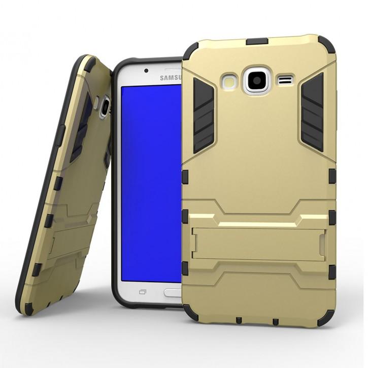 COOVY® Cover für Samsung Galaxy J7 SM-J700 / SM-J700F / SM-J700F/DS (Model 2015) Bumper Case, Doppelschicht aus Plastik + TPU-Silikon, extra stark, Anti-Shock, Standfunktion