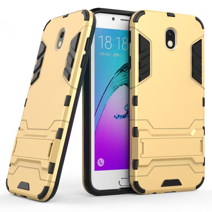 COOVY® Cover für Samsung Galaxy J7 SM-J730GM / SM-J730F/DS (Model 2017) / J7 pro  Bumper Case, Doppelschicht aus Plastik + TPU-Silikon, extra stark, Anti-Shock, Standfunktion