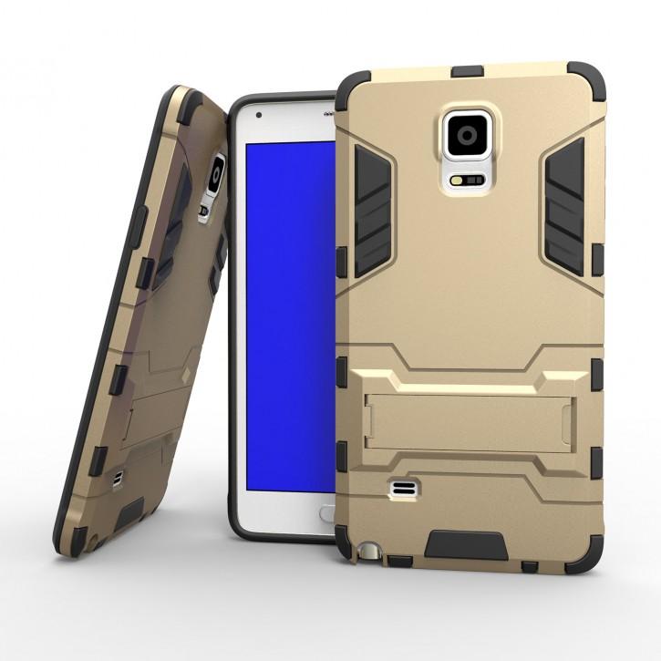COOVY® Cover für Samsung Galaxy Note 4 SM-N910 / SM-N910F / SM-N9100 Bumper Case, Doppelschicht aus Plastik + TPU-Silikon, extra stark, Anti-Shock, Standfunktion