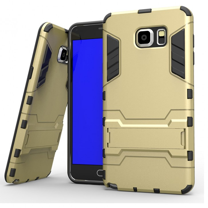 COOVY® Cover für Samsung Galaxy Note 5 SM-N920 / SM-920F Bumper Case, Doppelschicht aus Plastik + TPU-Silikon, extra stark, Anti-Shock, Standfunktion