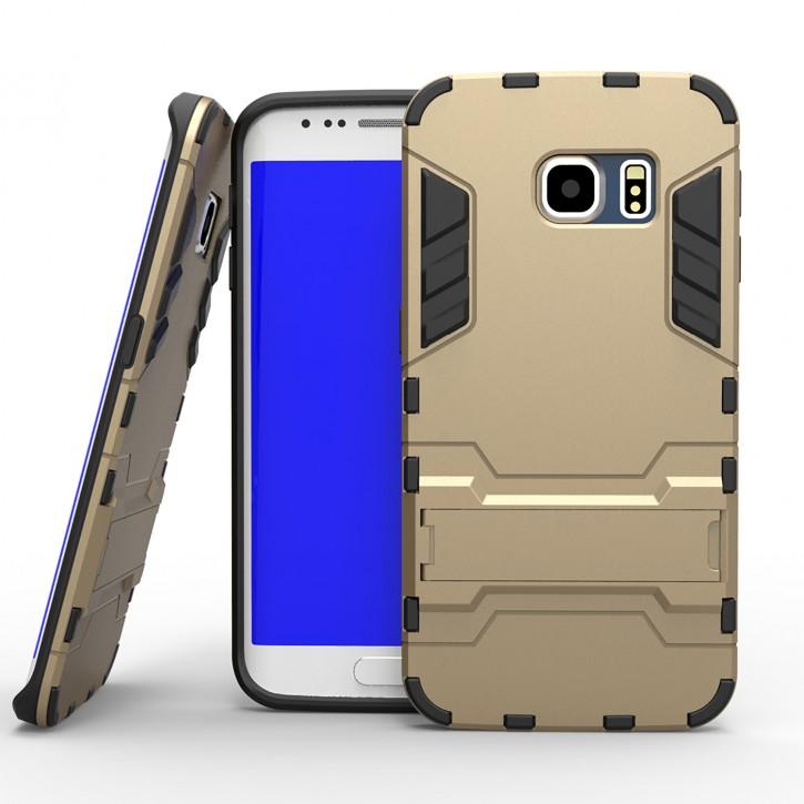 COOVY® Cover für Samsung Galaxy S6 EDGE SM-G925F SM-G925 Bumper Case, Doppelschicht aus Plastik + TPU-Silikon, extra stark, Anti-Shock Hülle, Standfunktion |