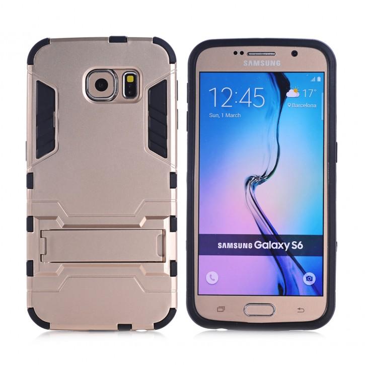 COOVY® Cover für Samsung Galaxy S6 SM-G920F SM-G920 Bumper Case, Doppelschicht aus Plastik + TPU-Silikon, extra stark, Anti-Shock, Standfunktion