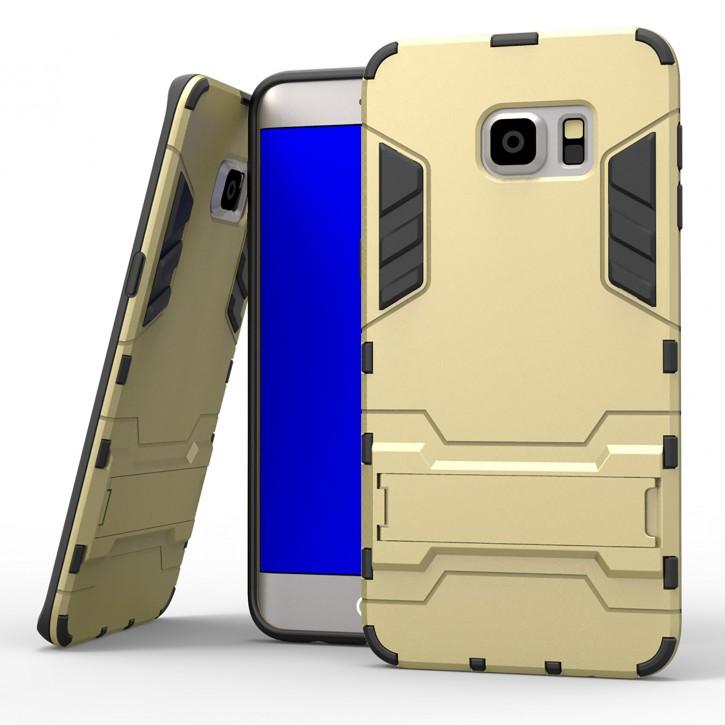COOVY® Cover für Samsung Galaxy S6 EDGE + plus SM-G928F Bumper Case, Doppelschicht aus Plastik + TPU-Silikon, extra stark, Anti-Shock, Standfunktion