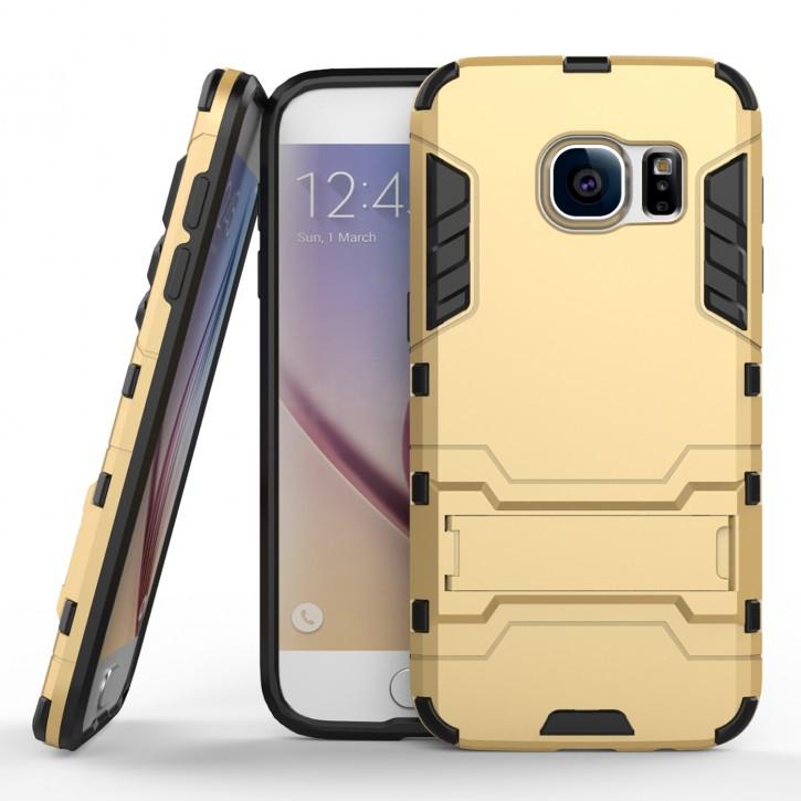COOVY® Cover für Samsung Galaxy S7 EDGE SM-G935F SM-G935 Bumper Case, Doppelschicht aus Plastik + TPU-Silikon, extra stark, Anti-Shock, Standfunktion