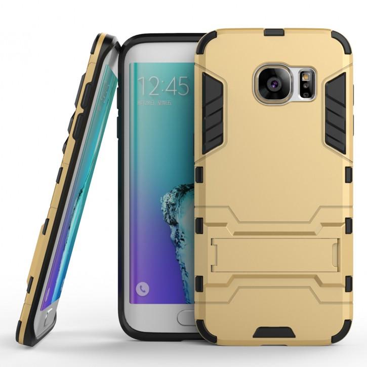 COOVY® Cover für Samsung Galaxy S7 SM-G930F SM-G930 Bumper Case, Doppelschicht aus Plastik + TPU-Silikon, extra stark, Anti-Shock, Standfunktion