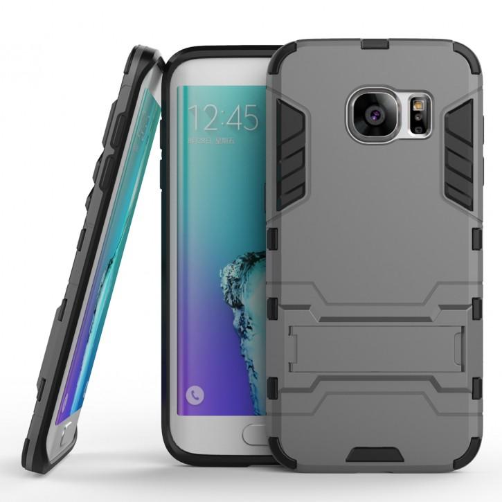 COOVY® Cover für Samsung Galaxy S7 SM-G930F SM-G930 Deluxe Hybrid Bumper Schutzhülle mit Doppelschicht aus Plastik + TPU-Silikon, extra starkes Case mit Anti-Shock Schutzfunktion, Hülle mit Standfunktion | Farbe grau